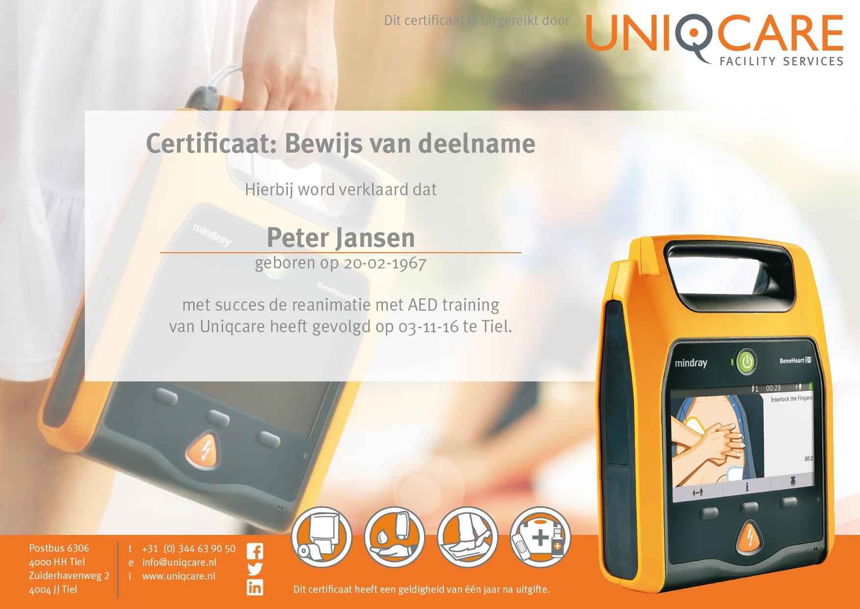 Certificaat Peter Jansen uniqcare